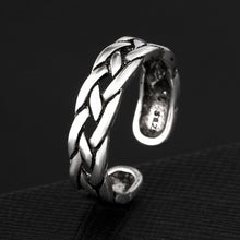 Anenjery Vintage Personality Ethnic Wind Thai Silver Weaving Index Tail Ring