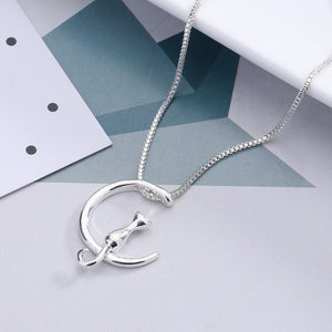 Charm Silver/Gold Color Lucky Cat Moon Link Chain Pendant Necklace