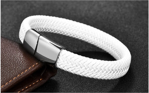 Punk Men Black/Brown Braided Leather Bracelet