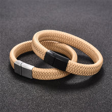Load image into Gallery viewer, Punk Black/Brown Leather Men Bracelet