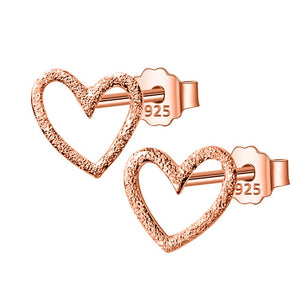 Hollow Heart Silver Earrings