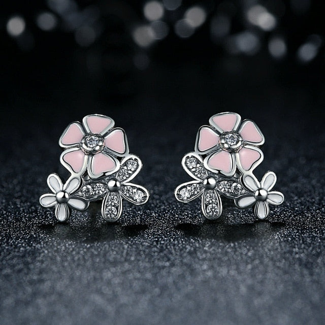 Silver Color Mickey Stud Earrings