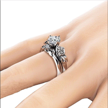 Load image into Gallery viewer, Crystal  Zirconia Rose Flower Wedding Rings