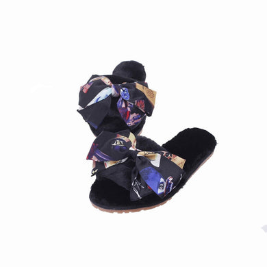Cozy Indoor Faux Fur Soft Big Bow Fur Slippers