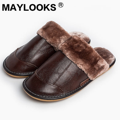 Men's Winter genuine Leather Slippers