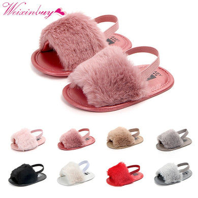 Baby Girl Faux Fur Slipper Sandals