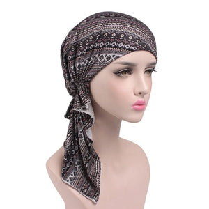 WJ 2019 NEW Fashion Women Flower Muslim Ruffle Cancer Chemo Hat Beanie Scarf Turban Head Wrap Cap F2