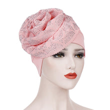 Load image into Gallery viewer, Turban Hat Cancer Chemo Beanie Cap Headwear Wrap Plated Bonnet Hair Accessories Large Flower Solid Color Headscarf Cap  Cotton