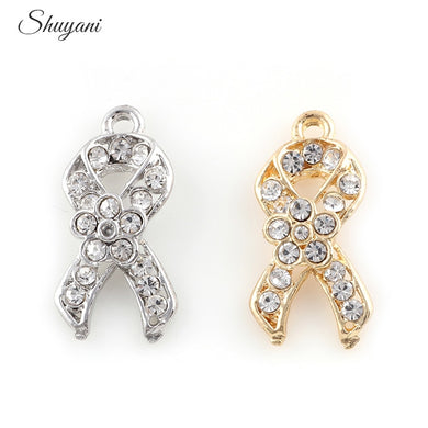 20Pcs/lot Newest Crystal Ribbon Cancer Charms Silver Gold Color Dangle Pendant For Bracelet Necklace Jewelry Making