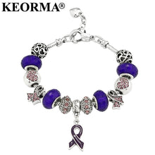 Load image into Gallery viewer, KEORMA Breast Cancer Awareness Pink Ribbon Pendant Heart Snake Chain Adjustable Charm Bracelet & Bangles Women Mother's Day Gift