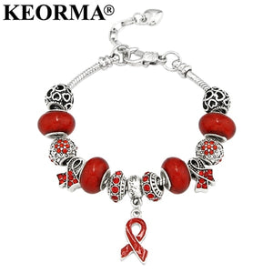 KEORMA Breast Cancer Awareness Pink Ribbon Pendant Heart Snake Chain Adjustable Charm Bracelet & Bangles Women Mother's Day Gift