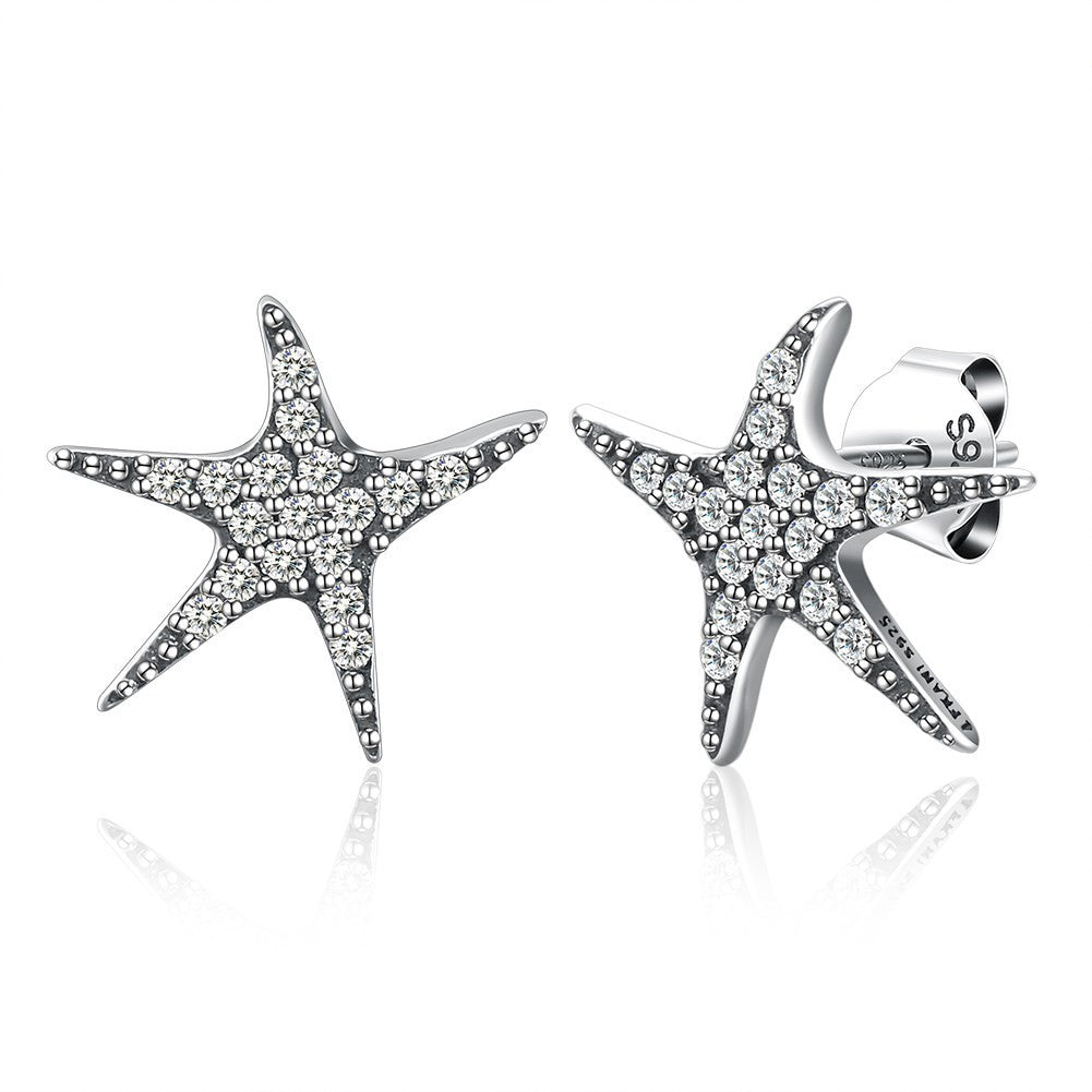 Sterling Silver Ear Studs Starfish