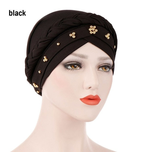 Women Muslim Stretch Turban Hat Hair Loss Head Scarf Cancer Chemo Cap Beads Braid Wrap Milk Silk Stretch Head Wrap