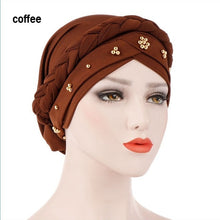 Load image into Gallery viewer, Women Muslim Stretch Turban Hat Hair Loss Head Scarf Cancer Chemo Cap Beads Braid Wrap Milk Silk Stretch Head Wrap