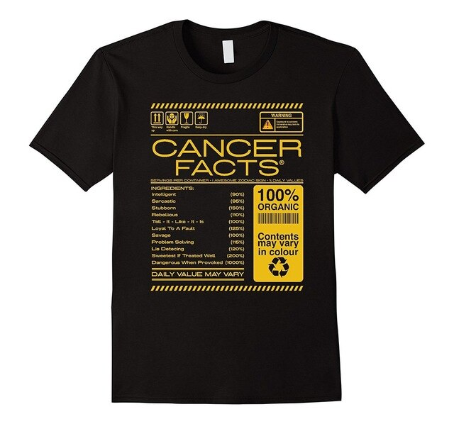Cancer Facts Cancer Awesome Zodiac Sign 2018 Summer New Brand T Shirt Men Hip Hop Men T-Shirts Casual Fitness Letter Top Tee