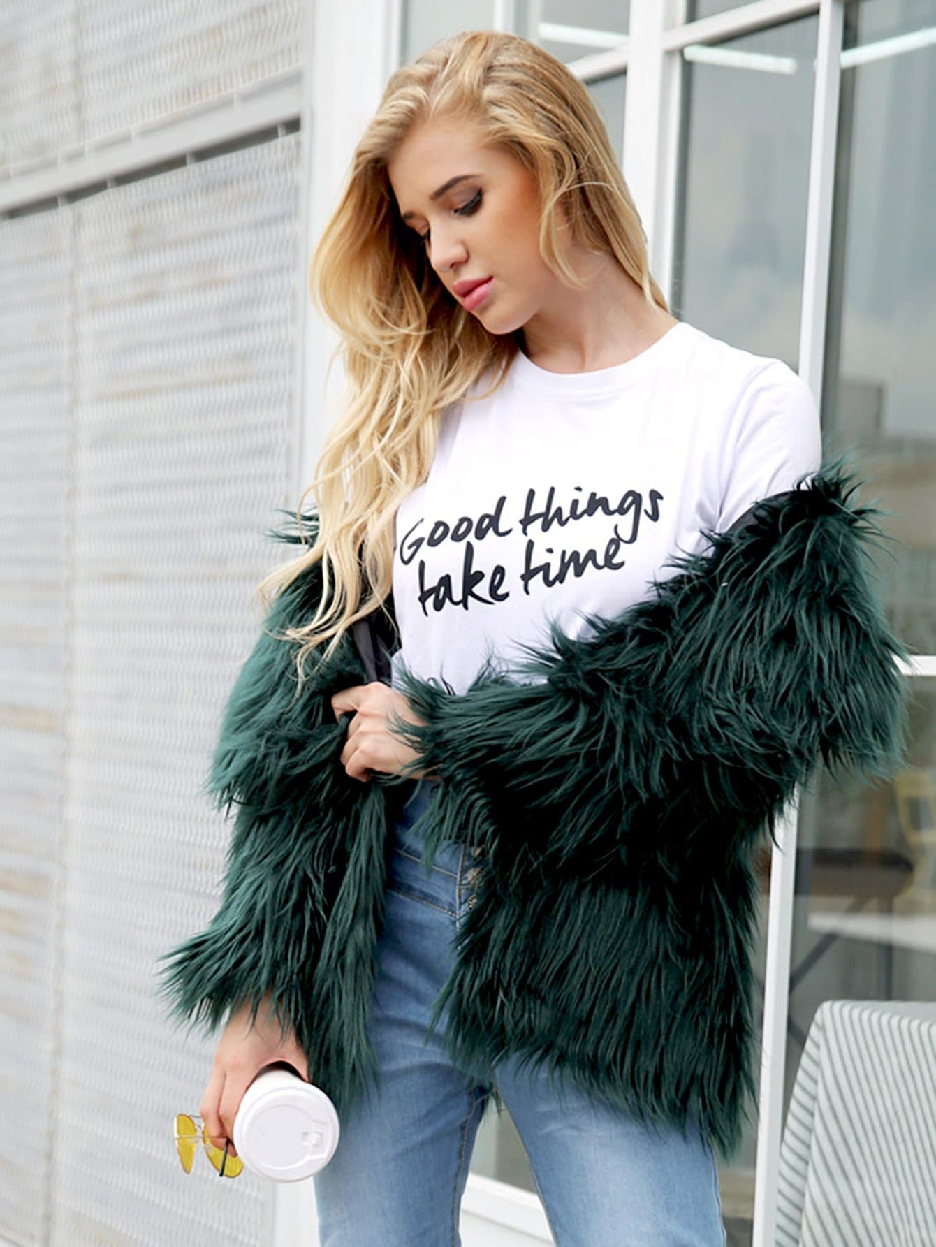 Solid Faux Fur Outerwear