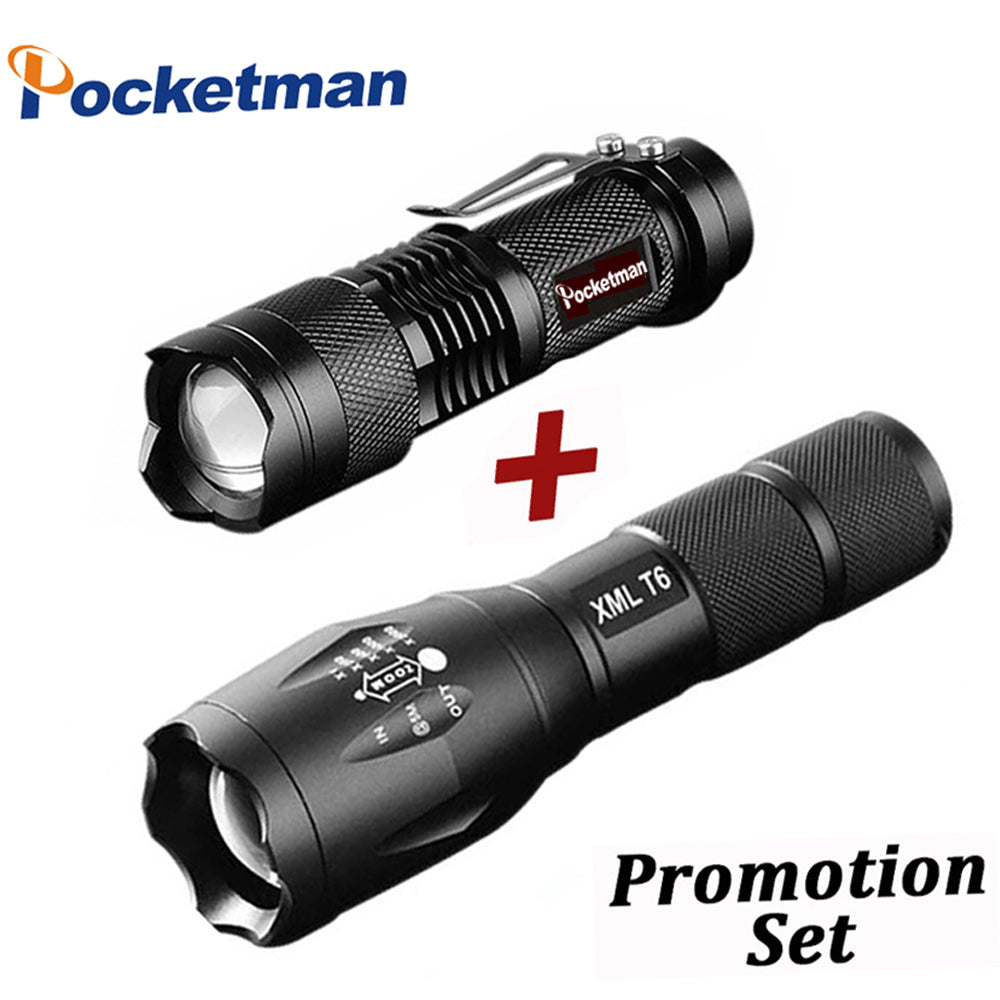 Promotion Set! LED Flashlight XML-T6 Tactical flashlight + Q5 Mini Torch Lanterna Zoomable Waterproof Flashlight