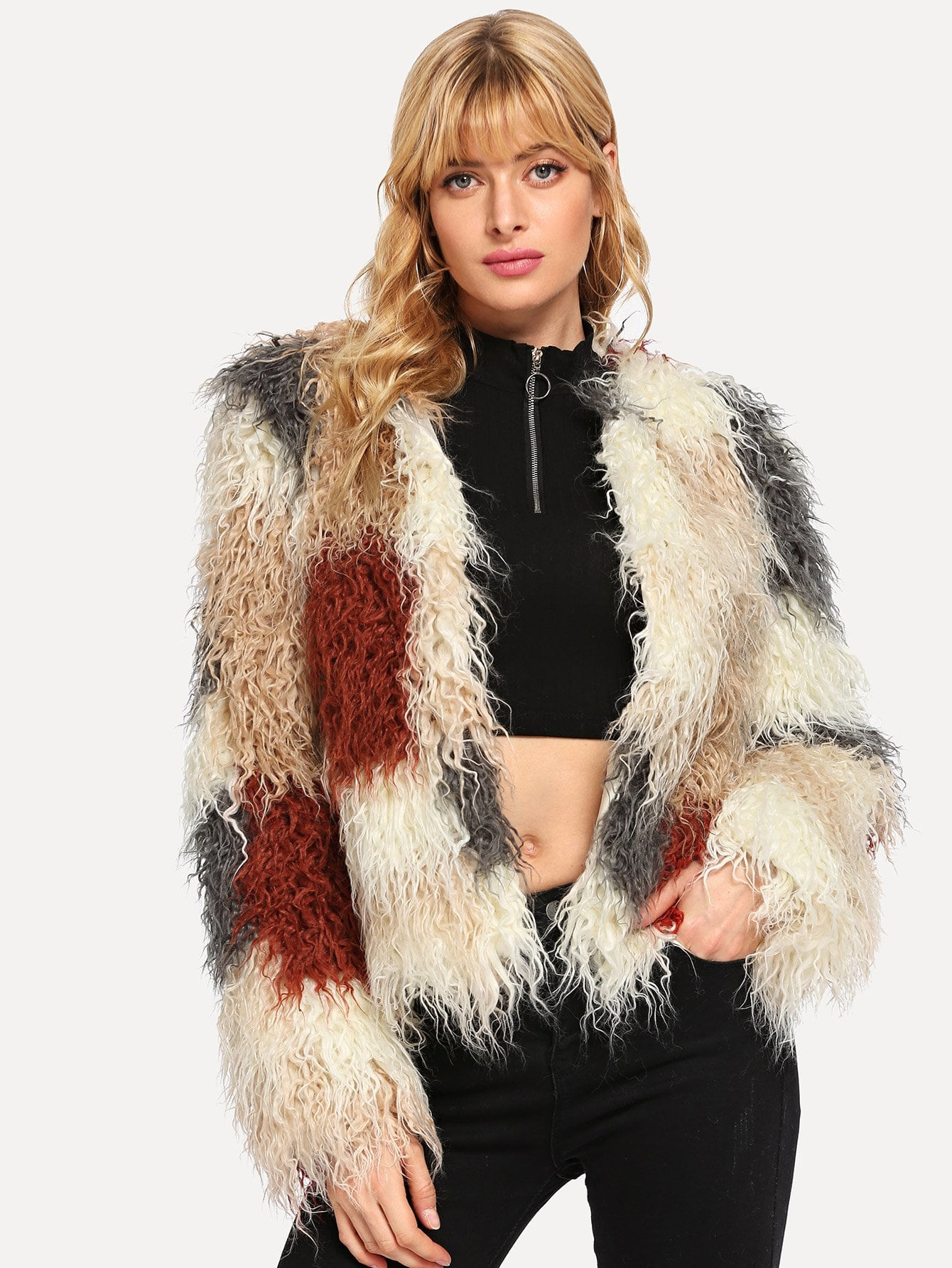 Color Block Faux Fur Teddy Coat