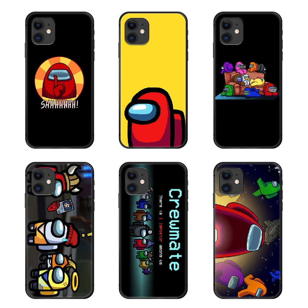 Among Us Phone Case Cover Hull For iphone 5 5s se 2 6 6s 7 8 plus X XS XR 11 PRO MAX black shell pretty waterproof silicone