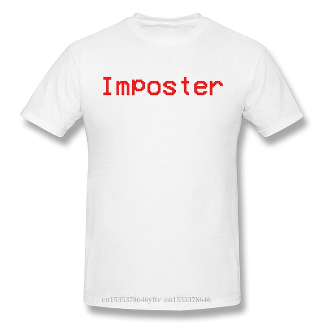 Imposter Black TShirt Among Us Crewmates Impostors Space Deduction Game Homme T-Shirt Tees Pure Cotton Oversized Short Sleeve