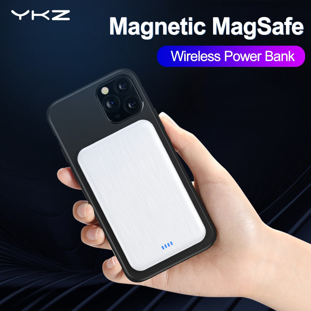 YKZ Magnetic Wireless Charge MIni Power Bank 4000mAh Universal External Battery Mobile Phone Portable Magnet MagSafe Powerbank