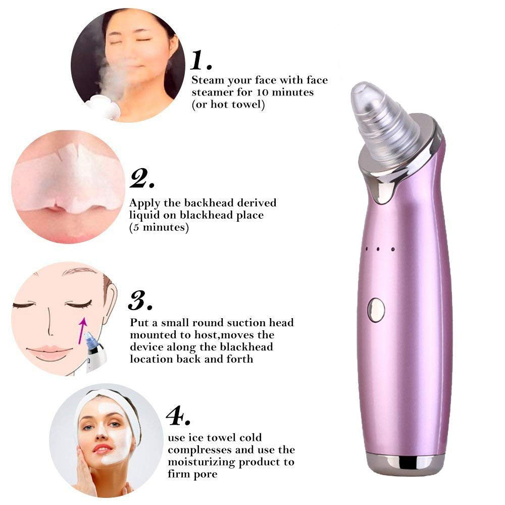 Facial Pore Nose Blackhead Vacuum Suction Machine Blackhead Remover Peeling Pore Cleansing Face Skin Deeply Cleaner