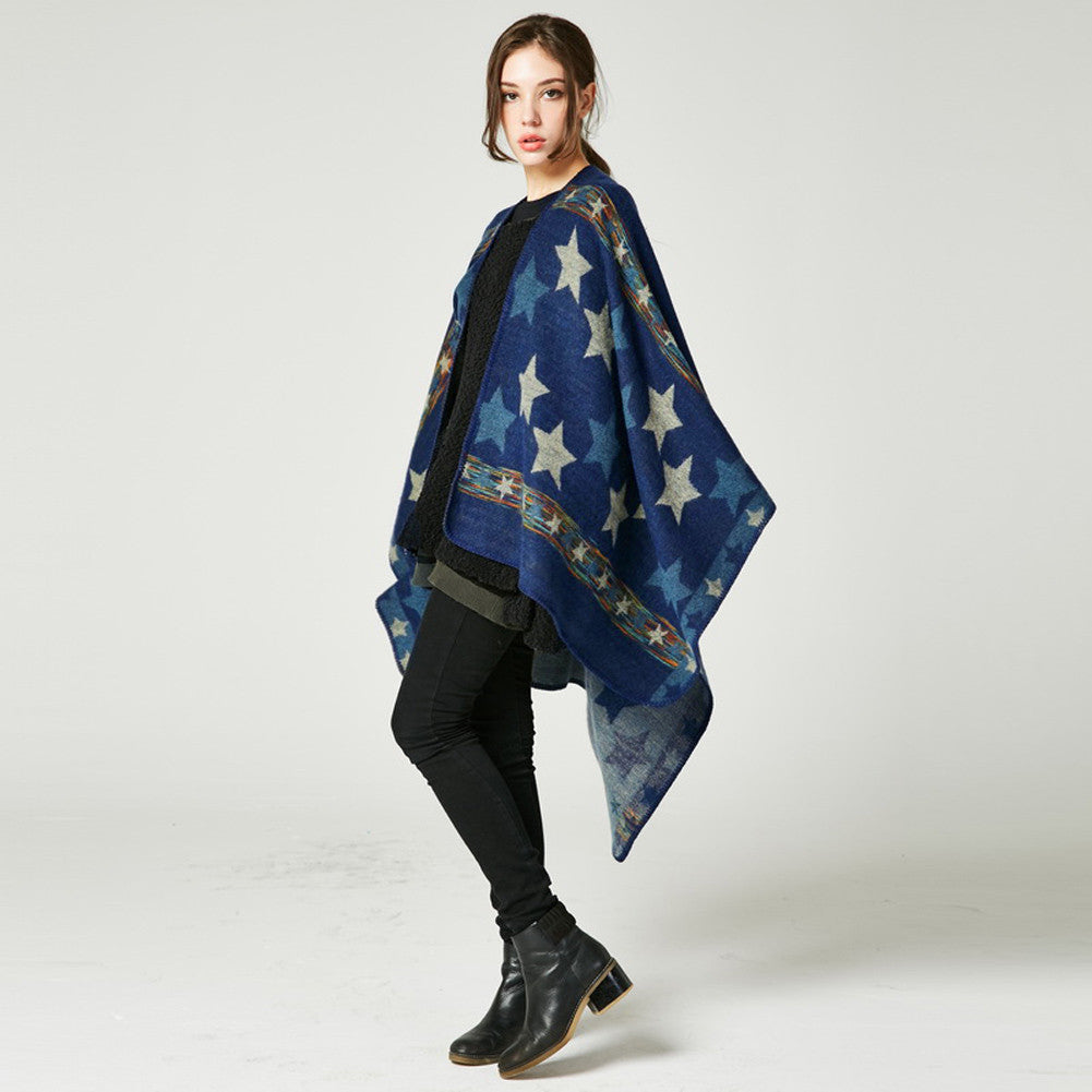 New Women Knitted Poncho Cape Star Oversized Cardigan Sweater Long Shawl Scarf Cashmere Pashmina