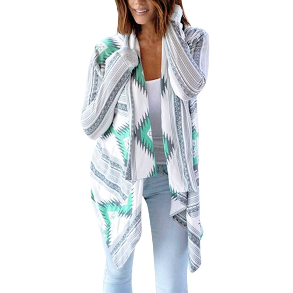 Women's Geometric Print Cardigan Casual Loose Sexy Oversized Cardigan