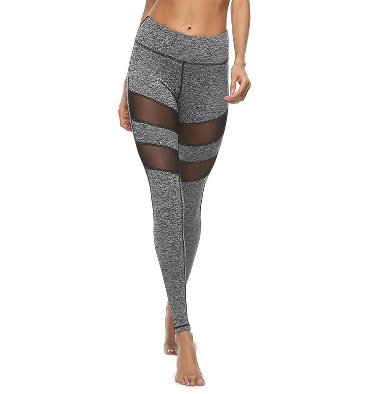 Sexy Mesh Workout Leggings-Gray