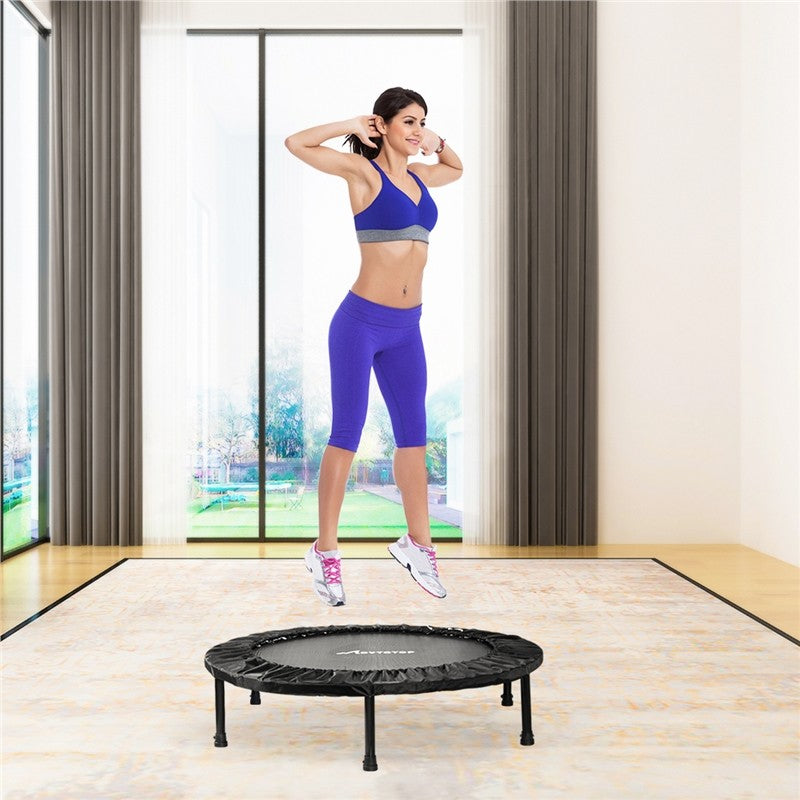 MOVTOTOP 38 Inches Folding Trampoline Fitness Cardio Round Trampoline Trainer Aerobic Fitness Exercise