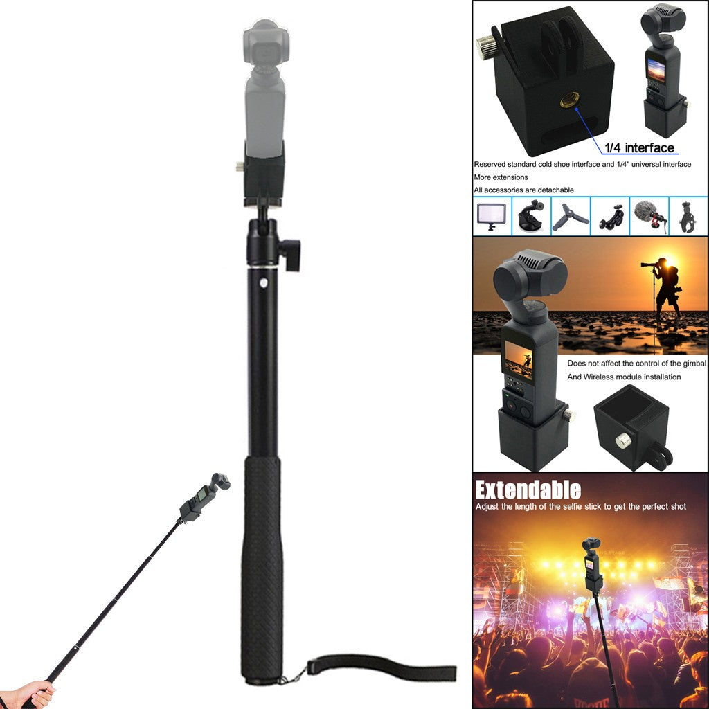 Handheld Extension Rod Selfie Stick With 1/4 Screw Adapter For DJI Osmo Pocket