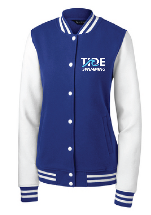 Ladies Fleece Letterman Jacket / Royal & White