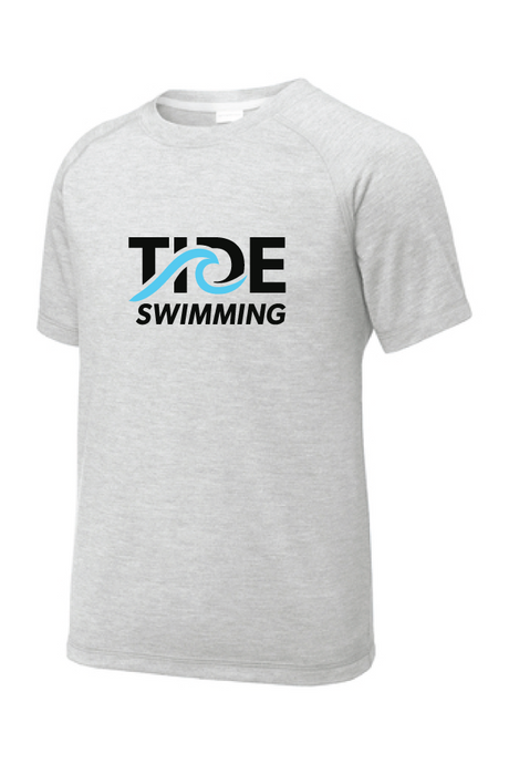 Tri-Blend Wicking Raglan Tee (Youth & Adult Sizes) / Light Heather Gray / Tide Swimming