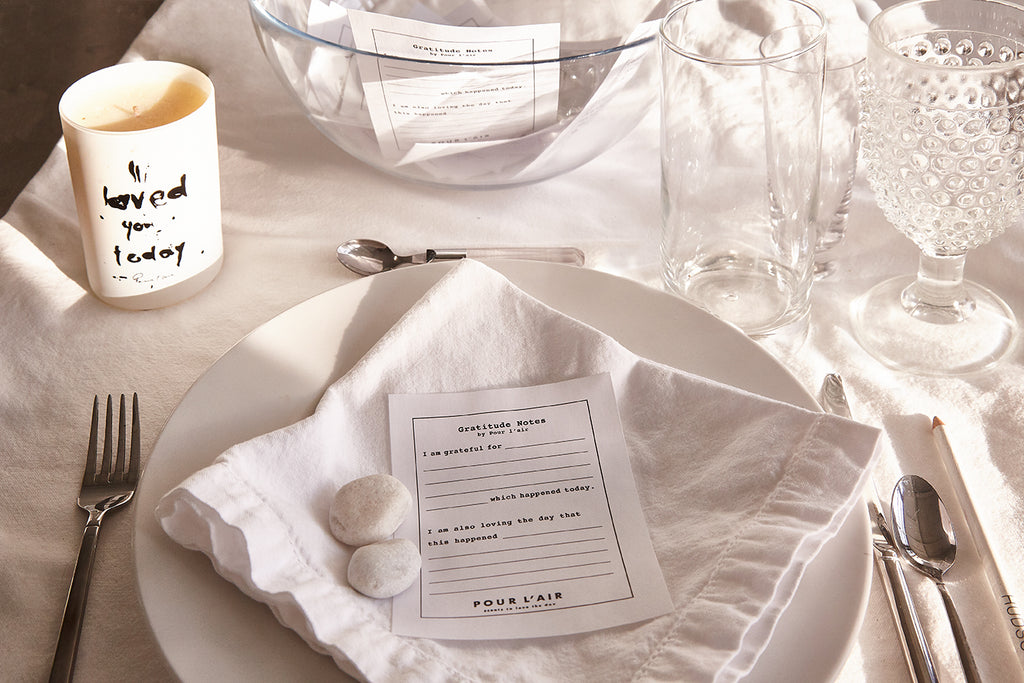 Dinner party idea that creates conversation and keepsakes. Gratitude Notes Kit by Pour l'air Scents.