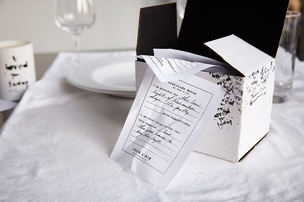 Keepsake idea using Free Gratitude Notes Kit using Pour l'air Shipping box