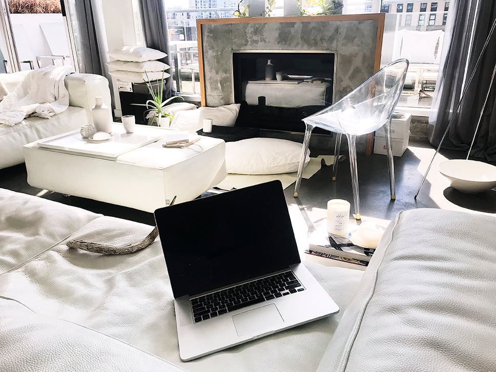 How to Work From Home . A white loft mess.