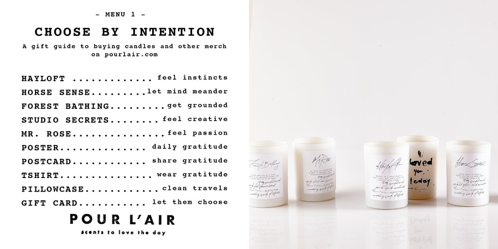 Pour l'air candle gift guide. How to shop for candles by intention.