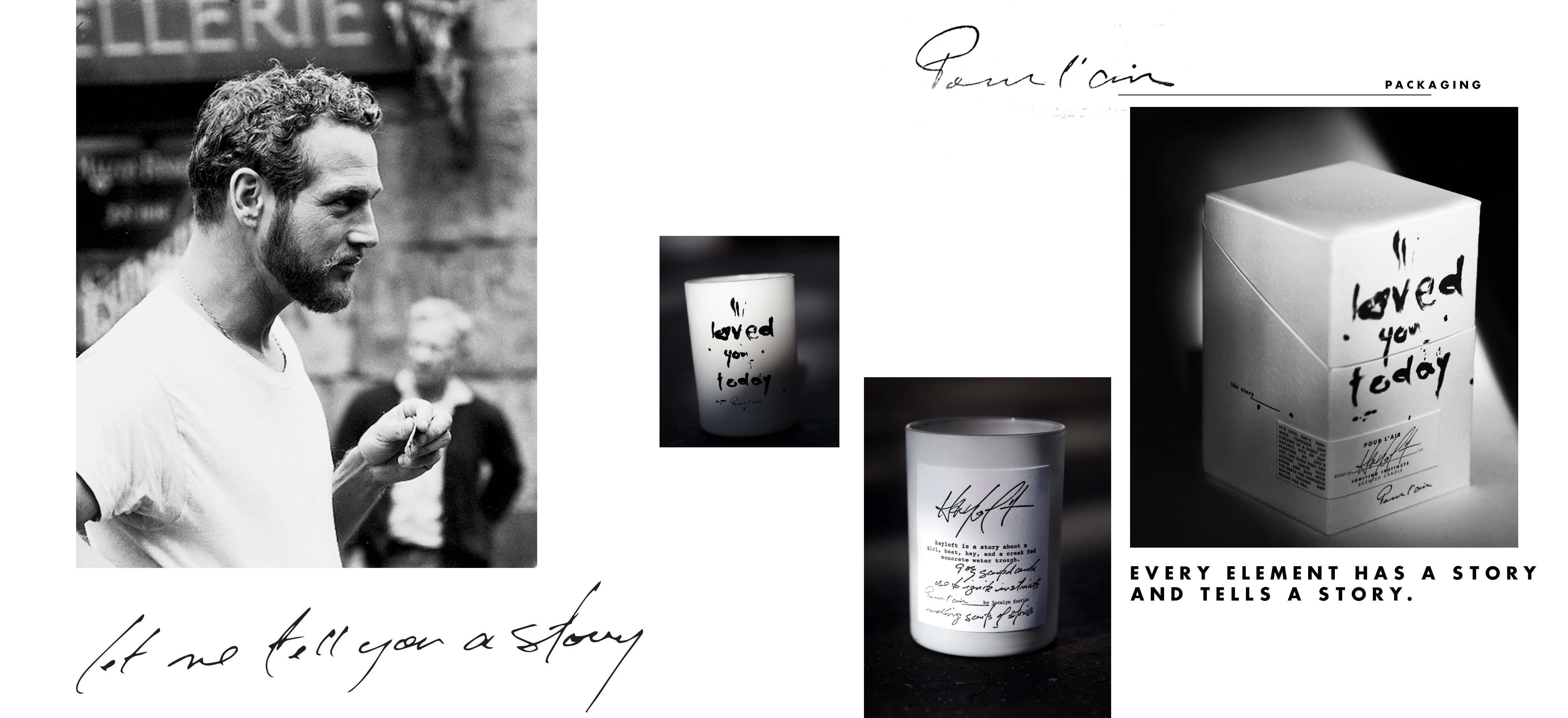 Pour l'air packaging is inspired by a young Paul Newman in a white tshirt. Letterpress packaging on cotton paper.