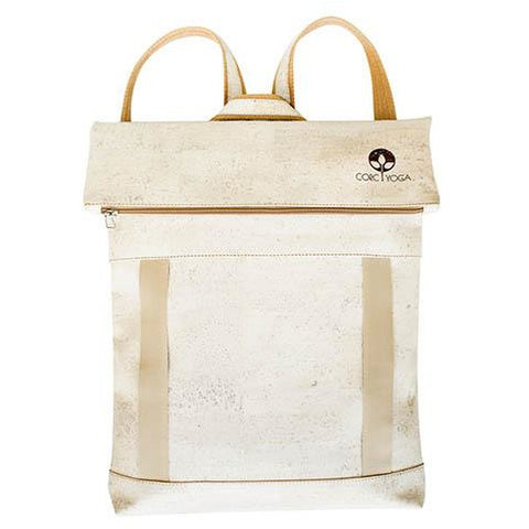 Sand Colored Cork Yoga Backpack Front View