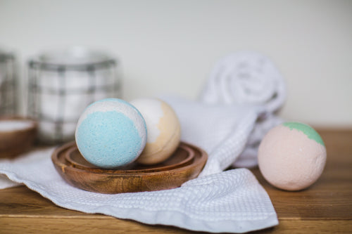 Blue and White Bath Bombs