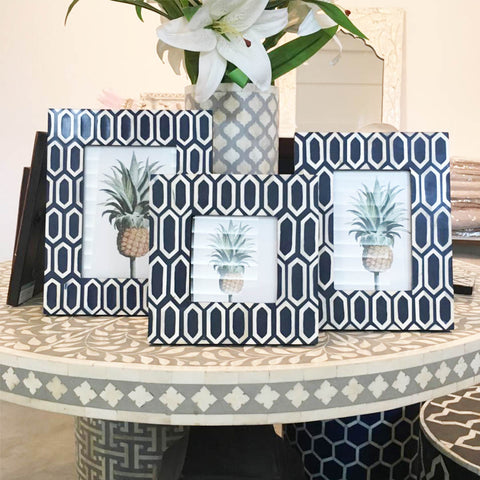 Hexagonal Pattern Photo Frame - Navy Blue