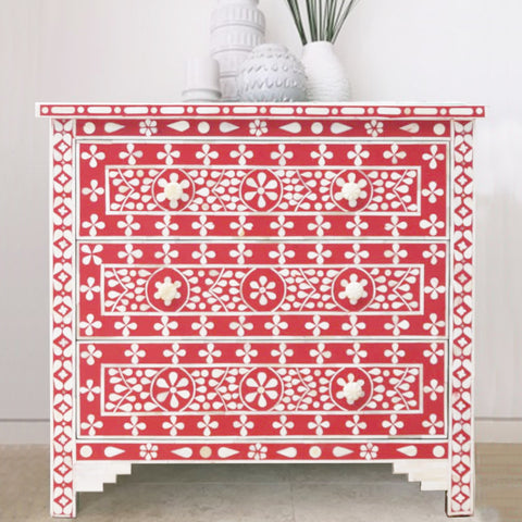 Ruby Daisy Pattern 3 Drawer Chest