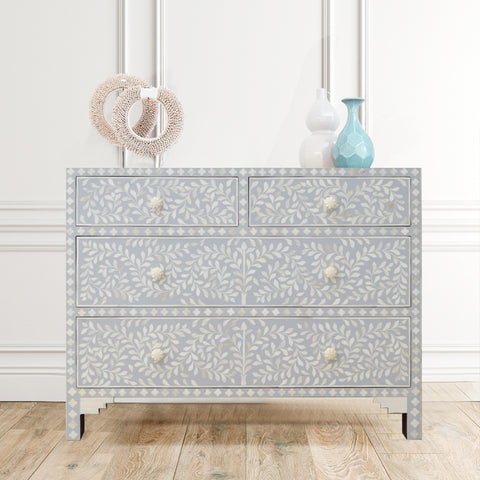Pale Grey Leaf Pattern - 4 Drawers Chest
