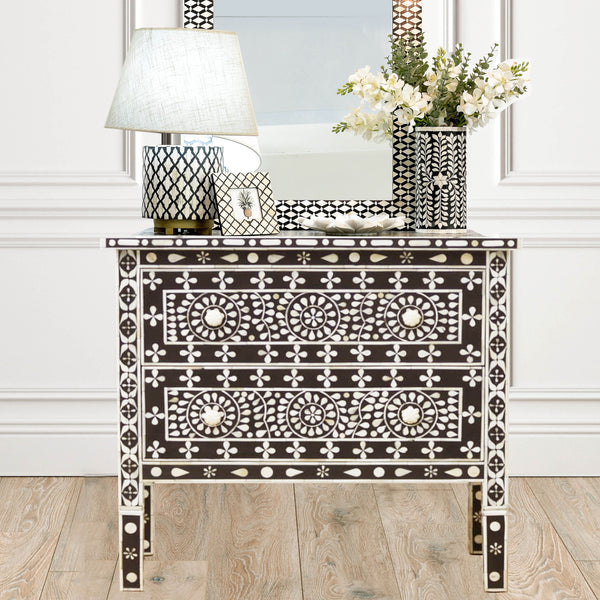 Black Daisy Pattern 2 Drawer Chest