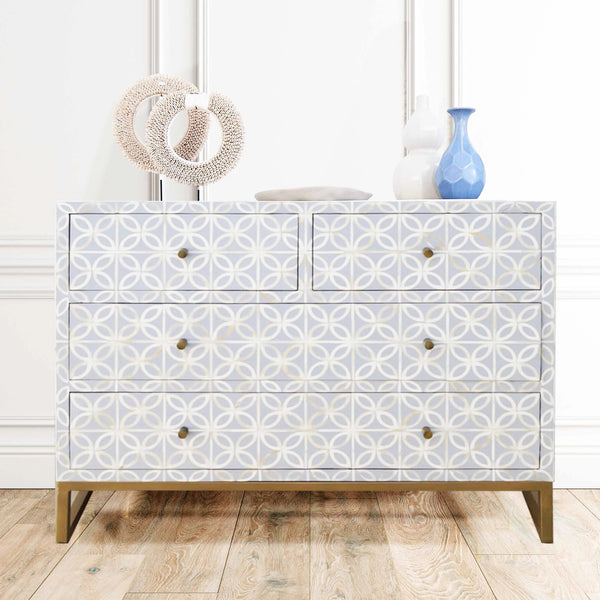 Pale Grey Modern Geo - 4 Drawer Chest