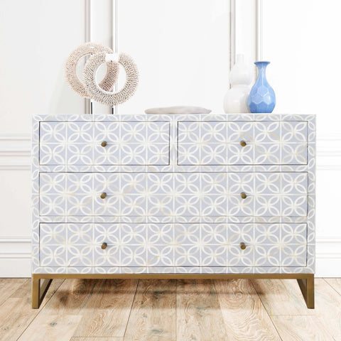 Pale Grey Petal Pattern - 4 Drawer Chest