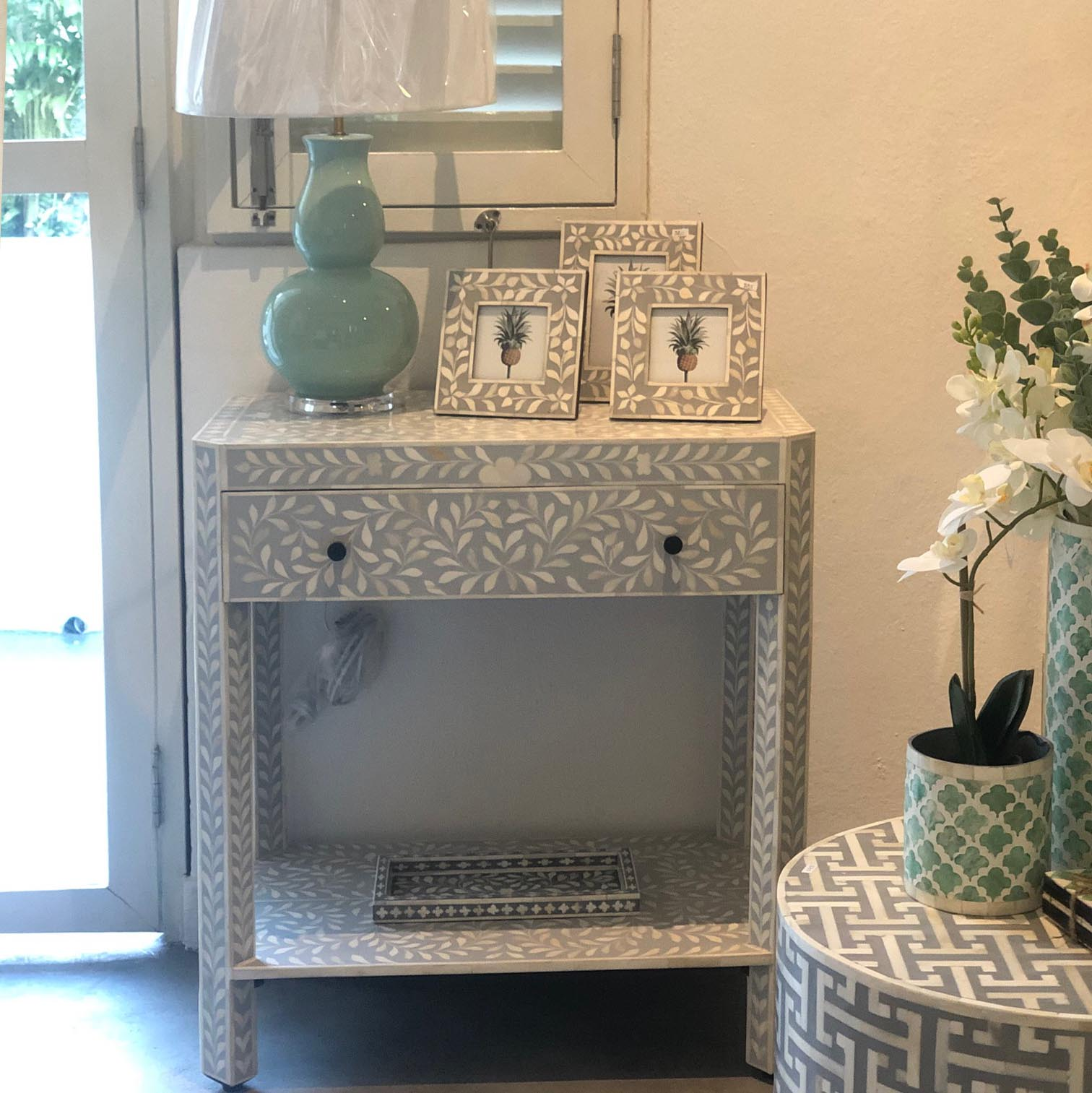Grey Leaf Pattern Console Table
