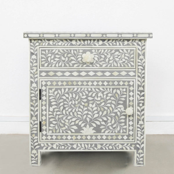 Pale Grey Leaf Pattern Side Table