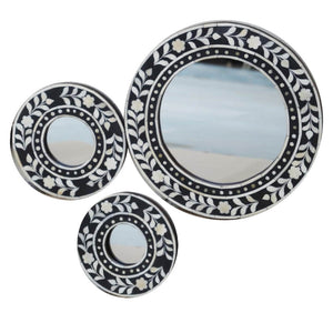 Black Leaf Round Mirror