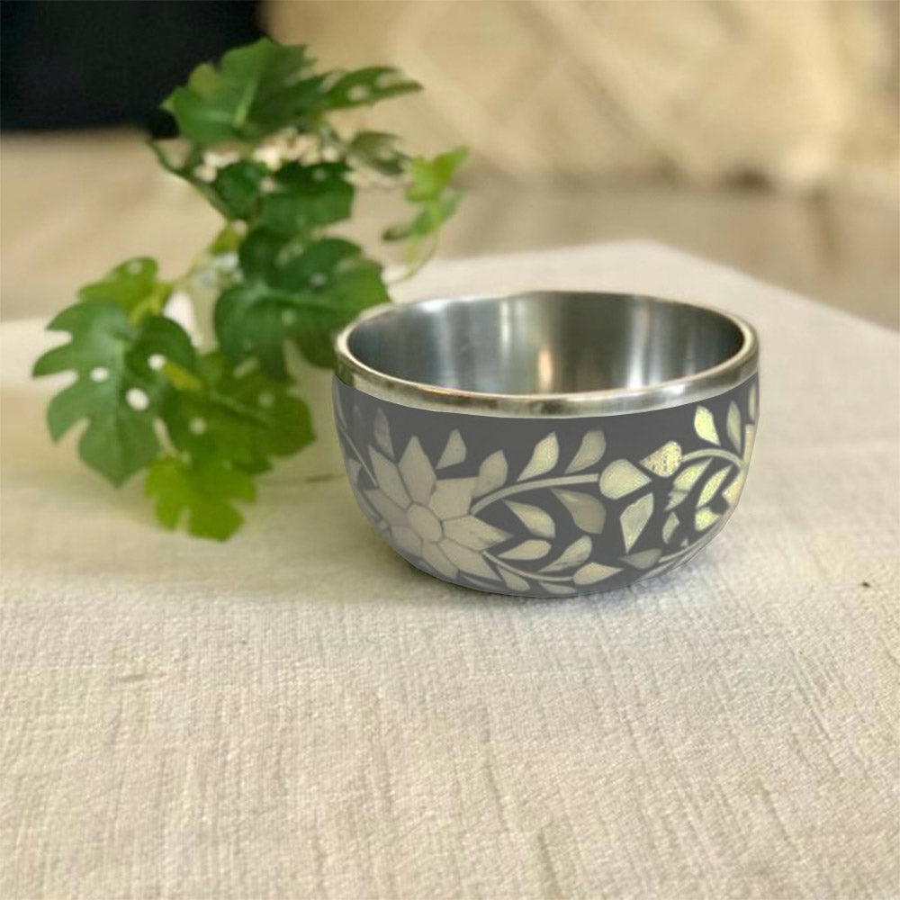 Dark Grey Bone Inlay Floral Bowl